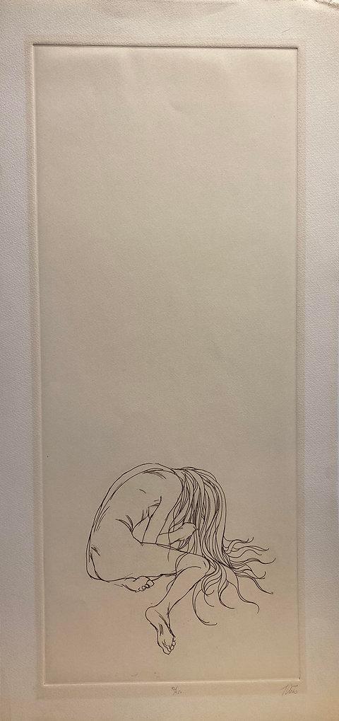 Alone,etching, 27 x 13, sgd ltd Ed 92of2