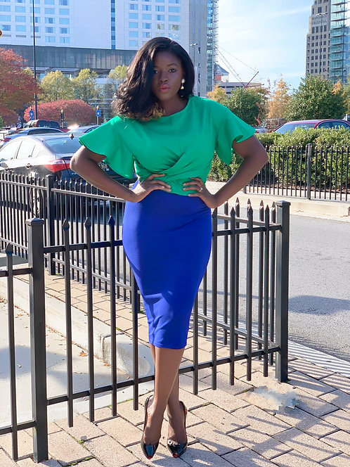 Classic blue pencil midi skirt