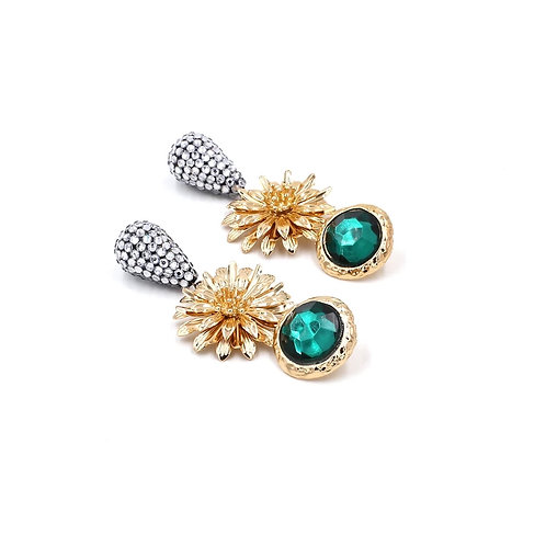 Emerald Hibiscus tassle earrings
