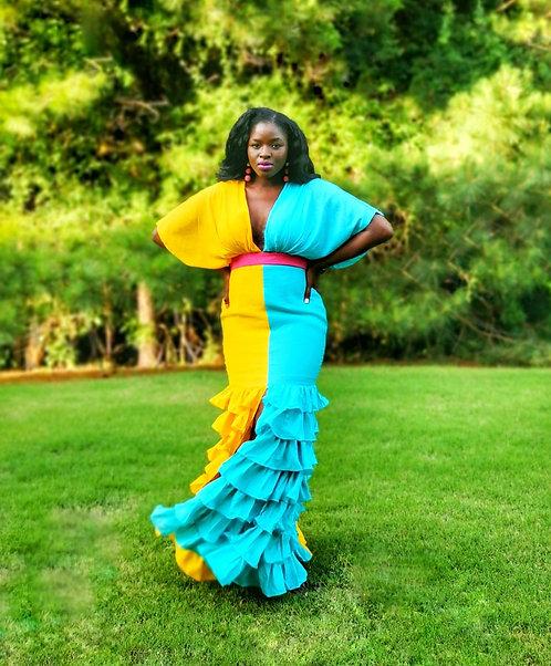 Sahsa Color block Maxi dress
