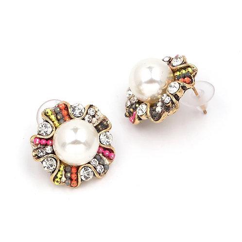 Color pearl earrings