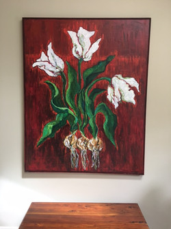 Tulip painting in setting