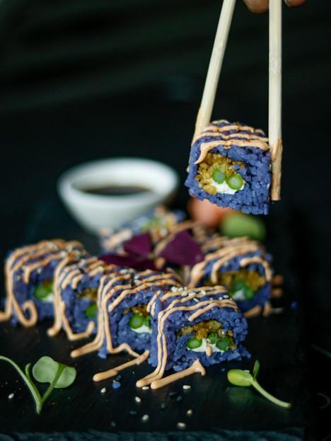 Tempura asparagus blue rice sushi