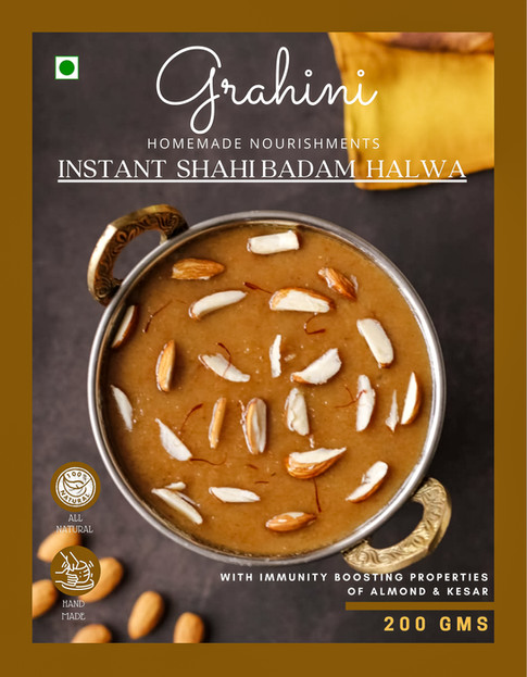 Shahi Badam Halwa, with label design