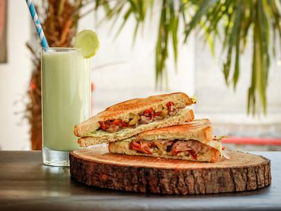 Cashew Tzatziki Sandwich and Cucumber Smoothie