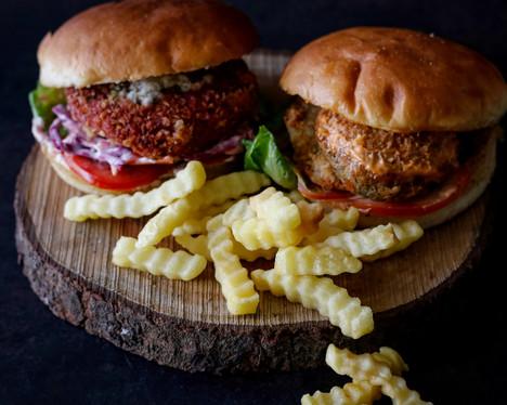 Avocado Beet Burger & Nino Shroom
