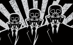 three men in gas masks