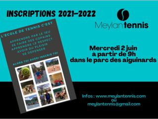 Inscriptions Ecole de Tennis Saison 2021/2022