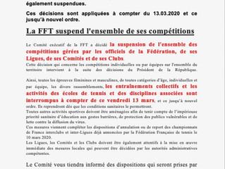 Infos Coronavirus décision FFT