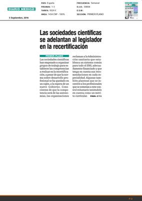 Las sociedades cientificas se adelantan en la legislación en la recertificacion