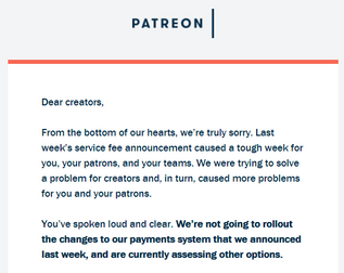 Patreon Backpeddles From Changes to Payment Structures
