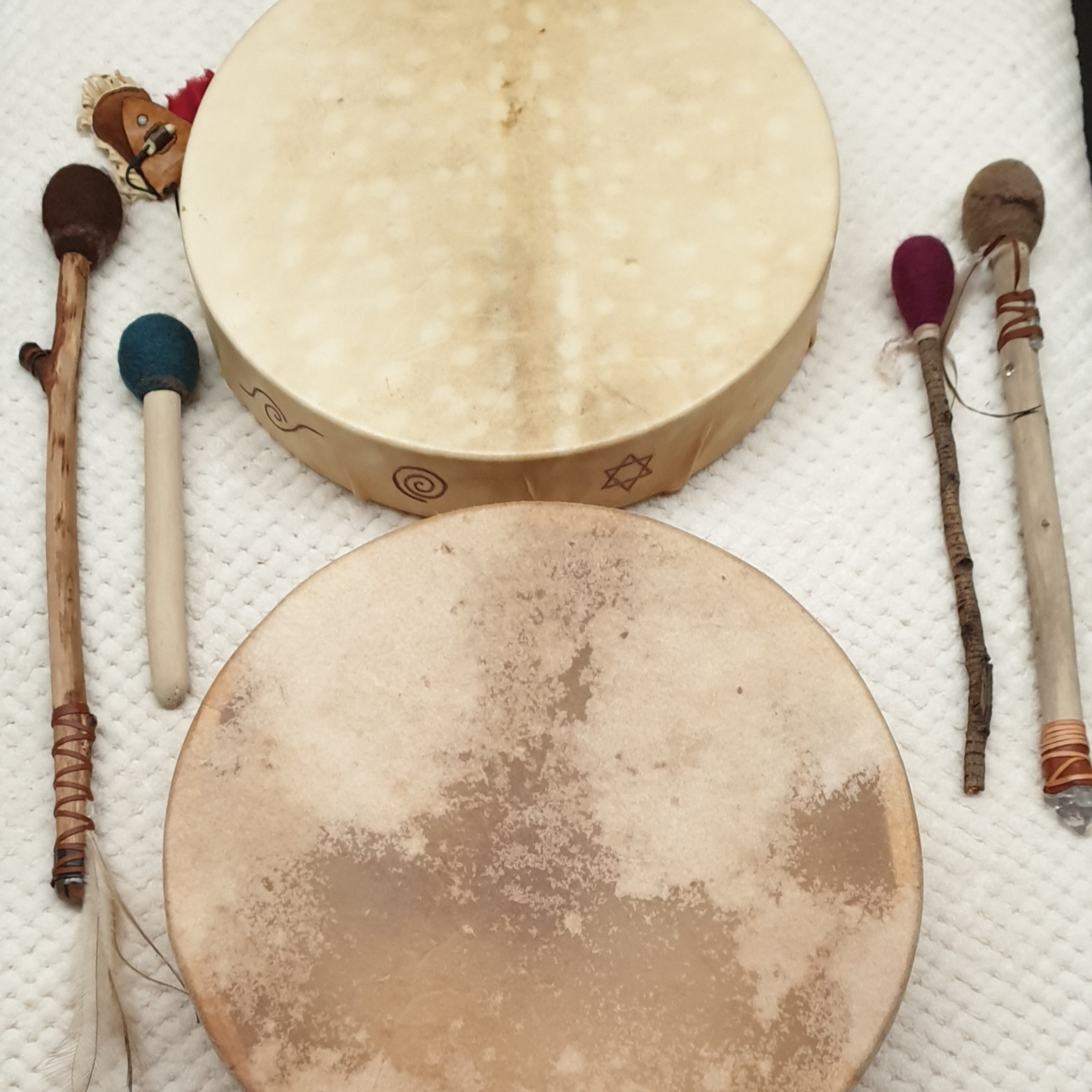 Frame drums and drum beaters