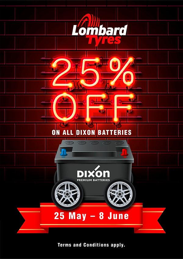 25% Off All Dixon Car Batteries