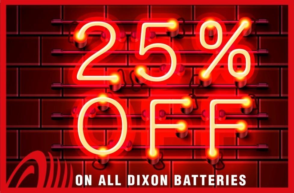 25% Off Dixon Batteries