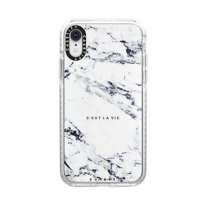 Casetify iPhone XR Impact Case, Frost C'est La Vie/E/Marble