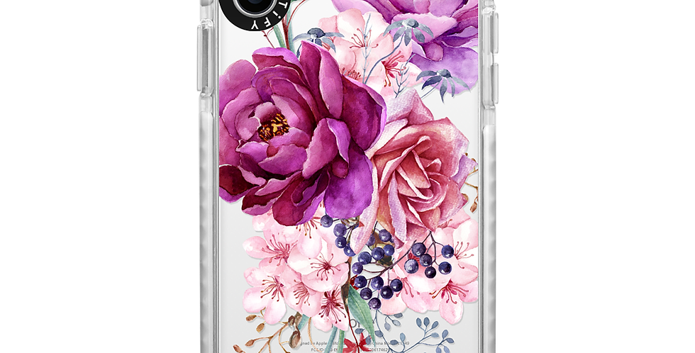 Casetify iPhone X/Xs, Frost Purple Peony Watercolor Floral Bouquet