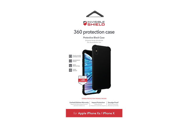 InvisibleShield Glass Curve 360 Protection Plus Case iPhone Xs, Black