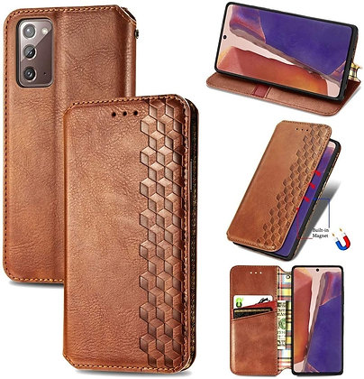 Komass Samsung Galaxy Note20 5G Flip Case, Brown