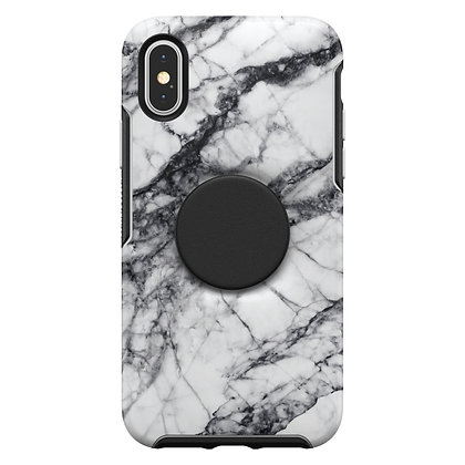 OtterBox Symmetry Otter + Pop iPhone Xs, White Marble