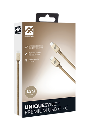 iFrogz Unique Sync Premium USB-C 3.1 To USB-C 3.1 Nylon Braided Cable, 1.8M Gold