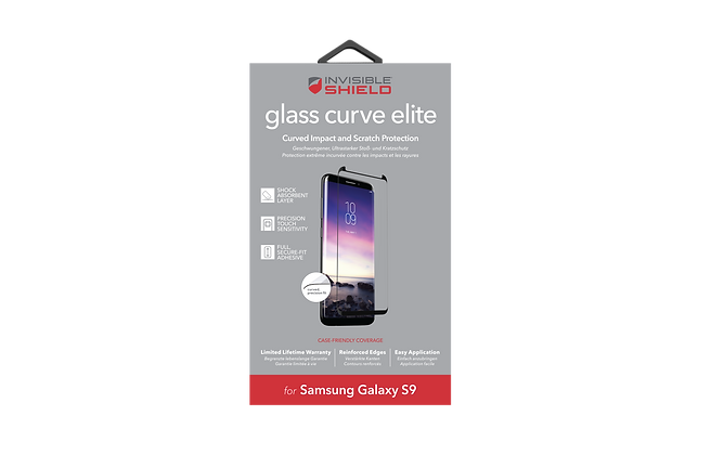 InvisibleShield Glass Curve Elite Samsung Galaxy S9, Case Friendly Screen