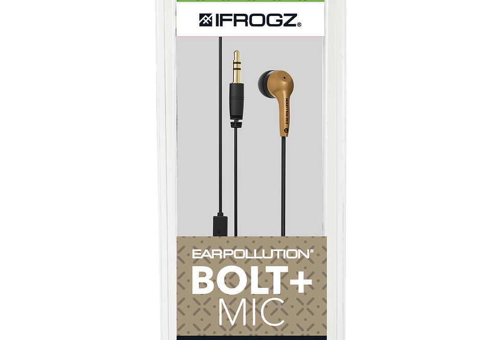 iFrogz Audio EarPollution Bolt Plus Wired Earbuds with Mic, Gold