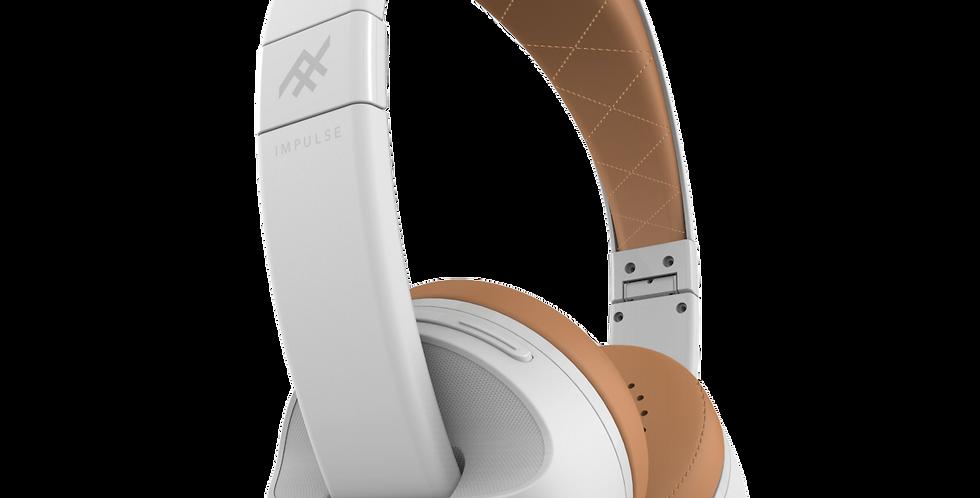 iFrogz Audio Impulse Wireless Bluetooth Headphone with Mic, White/Tan