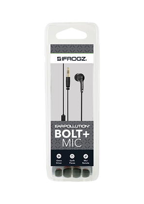 iFrogz Audio EarPollution Bolt Plus Wired Earbuds with Mic, White