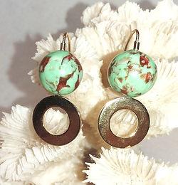 Copper Sparkle Glass Bead Earrings