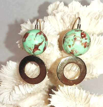 Copper Sparkle Glass Bead Earrings