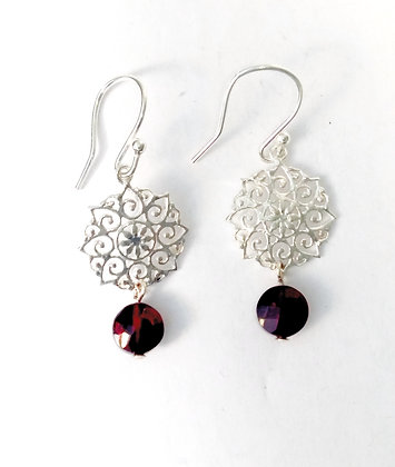 Garnet Silver Mandala Earrings