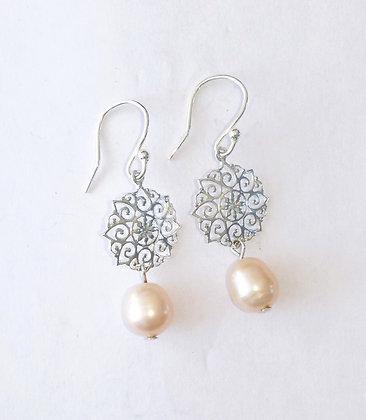 Pearl Silver Mandala Earrings