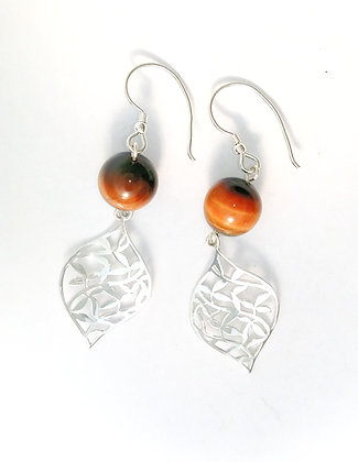 Tiger's Eye Leaf Earrings