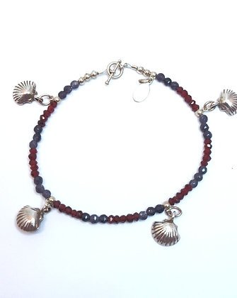 Silver Shells with Iolite and Garnet Bracelet