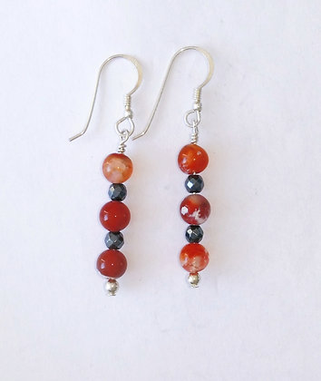 Fire Agate and Hematite drop Earrings