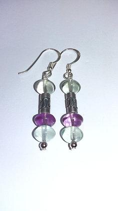 Fluorite & Indian Bead Earrings
