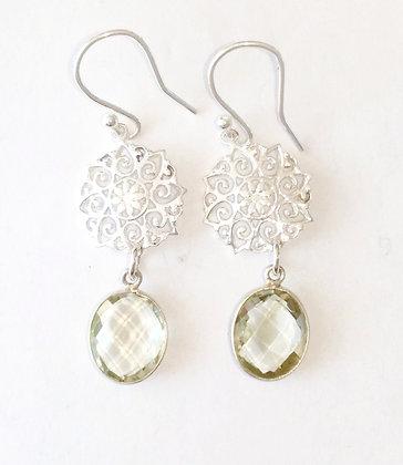 Lemon Quarts Silver Mandala Earrings