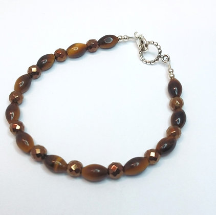 Tiger's Eye and Copper Plated Hematite Bracelet