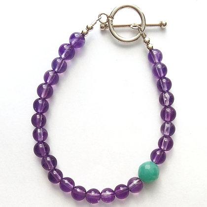 Amethyst bracelet with Amazonite