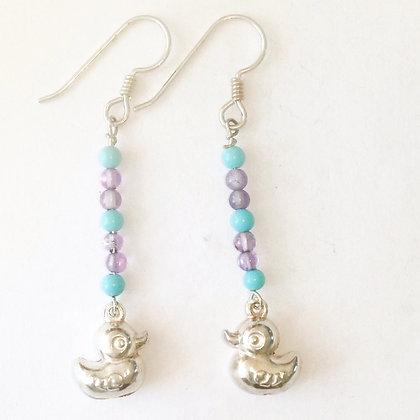Silver Duck Earrings