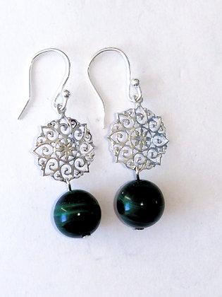 Malachite Silver Mandala Earrings