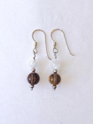 Smokey Quartz and Crackled Quartz drop earrings