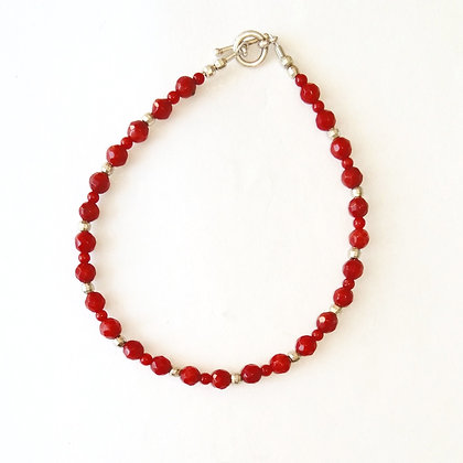 Red Coral and Silver Bead Bracelet