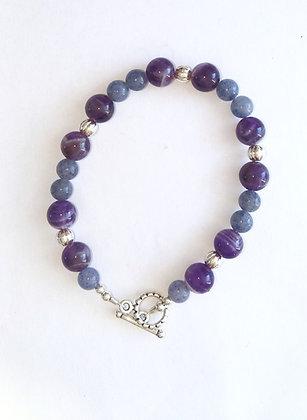 Amethyst and Blue Aventurine Bracelet