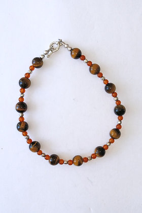 Tiger's Eye and Amber Bracelet