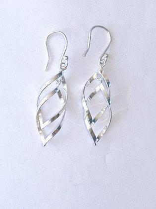 Silver Double Twist Earrings