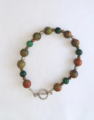 Unakite and Green Aventurine Bracelet