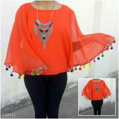 Georgette Poncho Tops