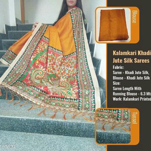 Kalamkari Khadi Jute Silk Sarees