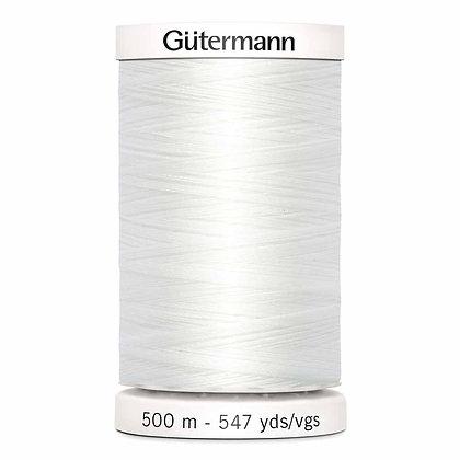 Gutermann 100% Polyester Thread - 500m - Nu White